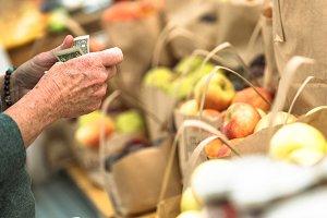 Elderly hands counting money market
