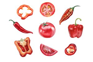 Red vegetables collection