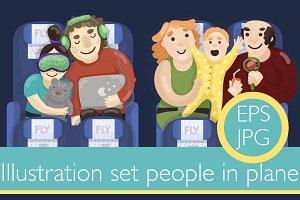 3 illustration set people in plane