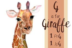 Watercolor Giraffe Print + Clip Art