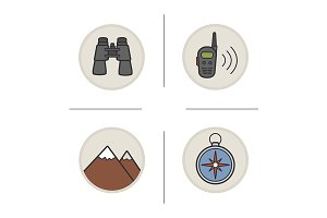 Camping and hiking. 4 icons. Vector