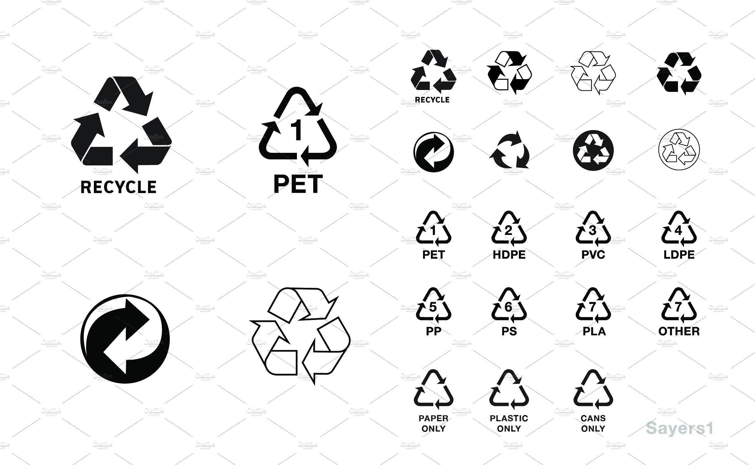 Basic Recycling Symbols Icons Icons Creative Market