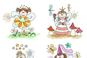 Little fairy children drawings set