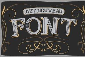 Vector art nouveau label font