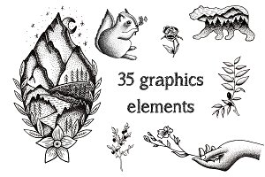 Graphic illustration set
