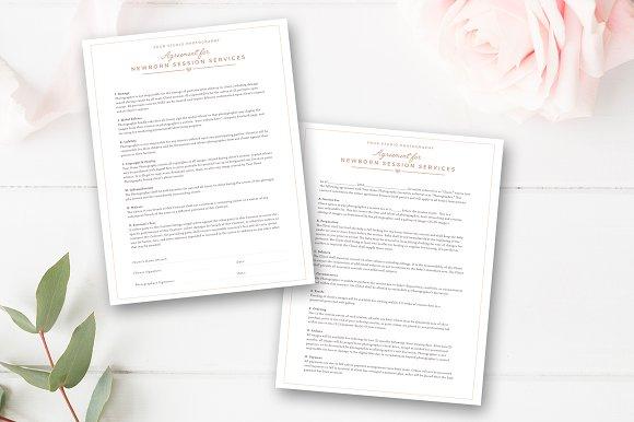 Newborn photographer contract ~ flyer templates ~ creative market.