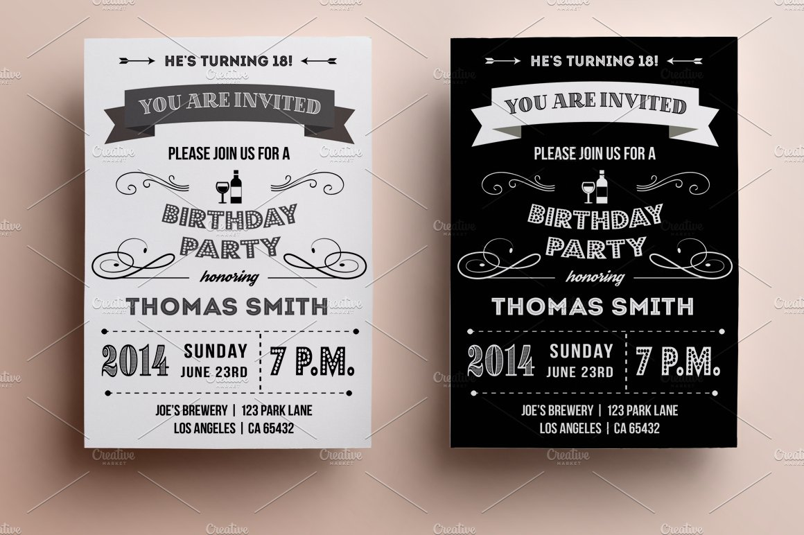 Retro Birthday Invitation Templates Creative Market