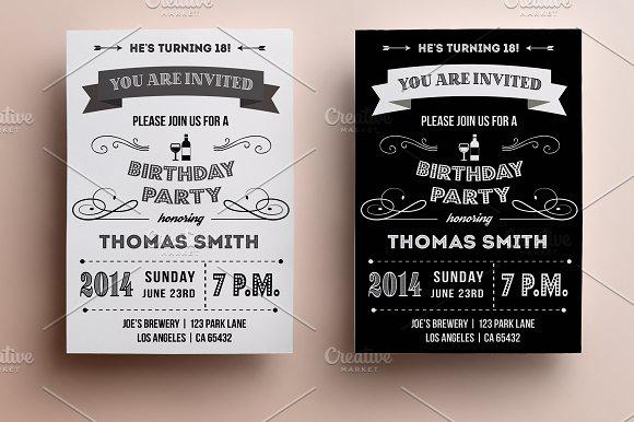 retro birthday invitation invitation templates creative market