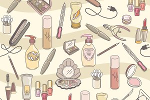 Cosmetics make up seamless pattern
