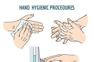 Cleaning hands hygienic set