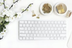 Gold & White Styled Desk Stock Photo