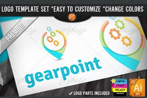 Web Applications 3D Gears Point Logo