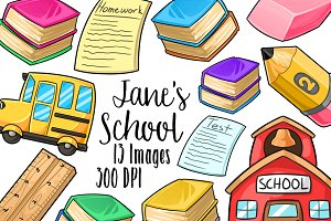 Kawaii School Supplies Clipart