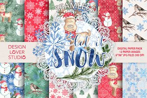 "Watercolor ""Let it snow"" papers"