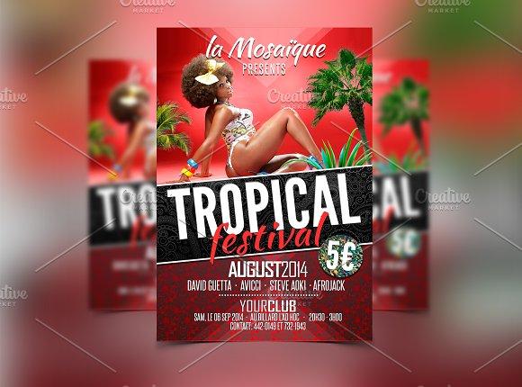 tropical festival party flyer flyer templates creative market