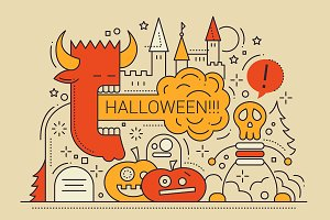 Halloween Line Design Illustration