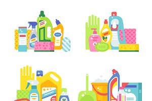 Cleaning products flat vector