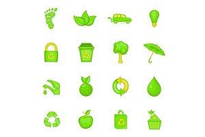 Nature icons set, cartoon style