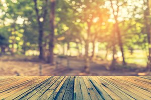 wood table and blur vintage forest