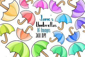 Kawaii Umbrellas Clipart