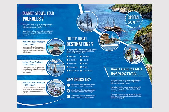 Travel Trifold Brochure Templates Creative Market
