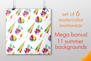 Watercolor Summer swimsuit set.