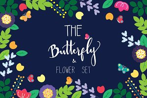 SIMPLE FLOWER&BUTTERFLY VECTOR SET