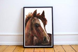 Watercolor Clip Art & Print - Horse