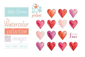 Watercolor set_Hearts
