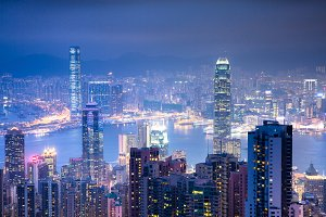 Victoria Peak at night, Hong Kong