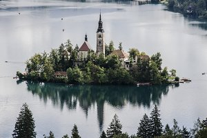 Church on an Island and a Castle