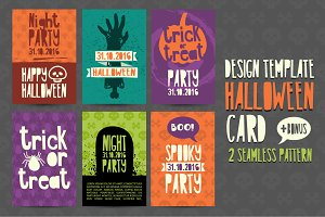 Set Halloween invitation card