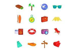 Travel icons set, cartoon style