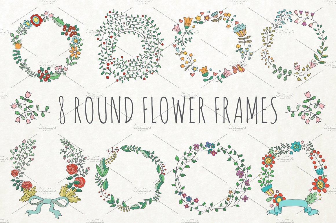 8 Round Flower Frames Illustrations Creative Market