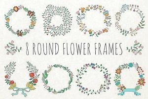 8 round flower frames