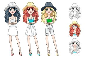 set of beautiful fashionable girls