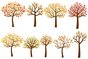 Fall trees clip art, Autumn trees