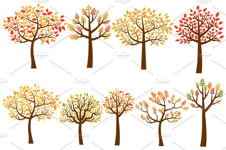 Fall Trees Clip Art Autumn Trees Custom Designed Illustrations
