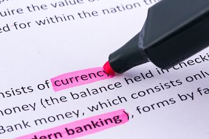 Currency word highlighted