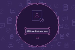 48 Linear Business Icons V.2