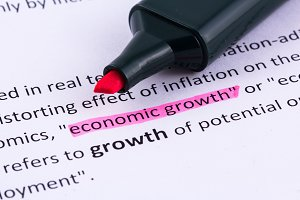 Economic growth word highlighted