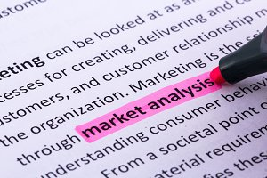 Market analysis word highlighted