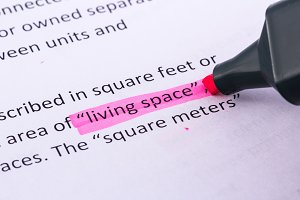 Living space word highlighted