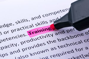 Training word highlighted