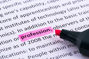 Profession word highlighted