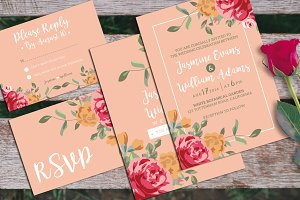 Floral Wedding Invitation + RSVP