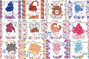 Watercolor zodiac signs clipart