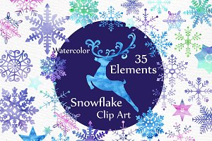 Watercolor snowflake clipart