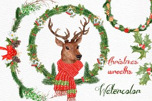 Watercolor Christmas Deer clipart