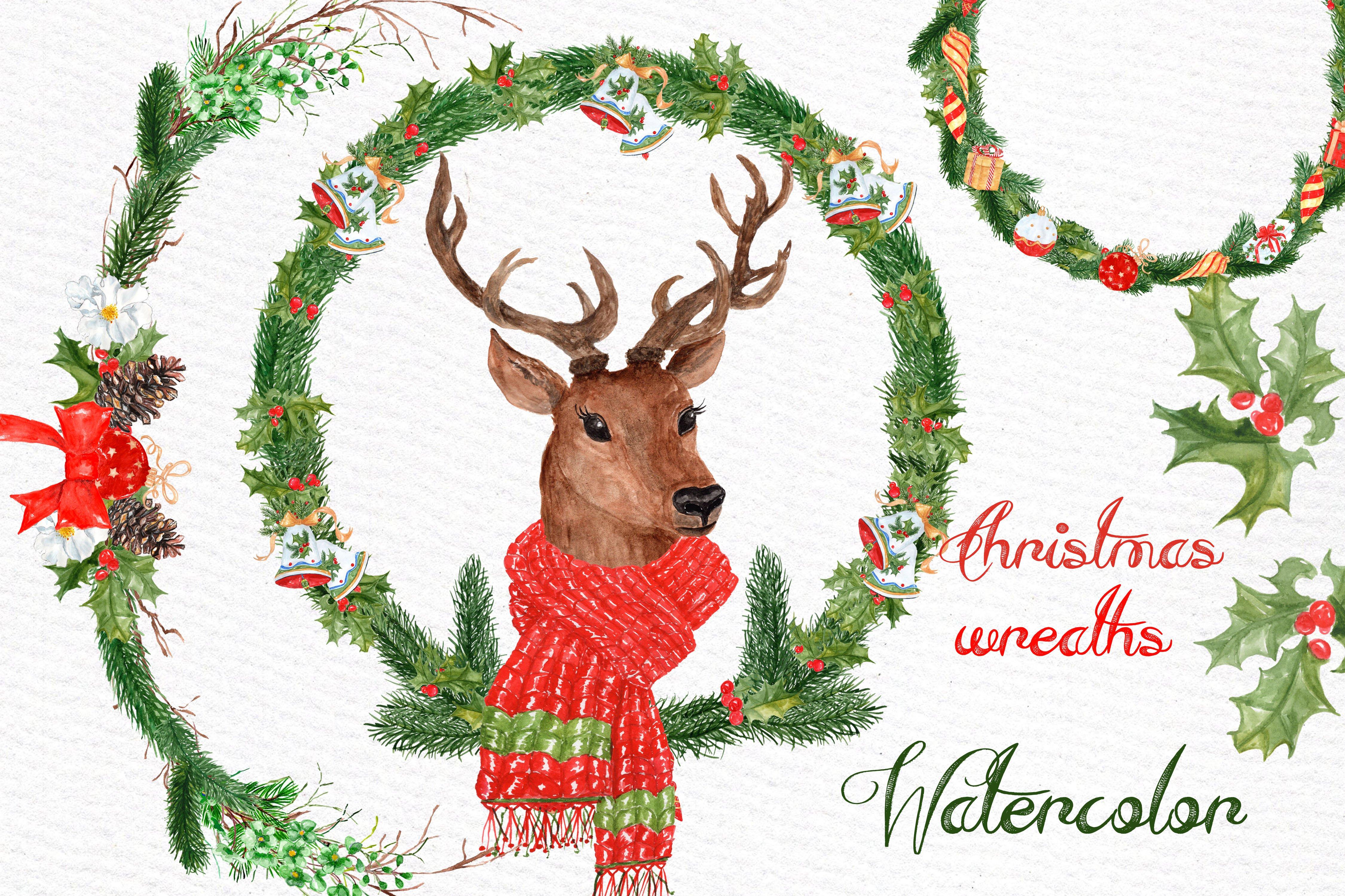 Watercolor Christmas Deer Clipart Illustrations